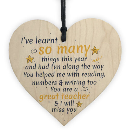 Gifts For Women Thank You Teacher Leaving Gift Nursery Sign Wooden Heart Plaque