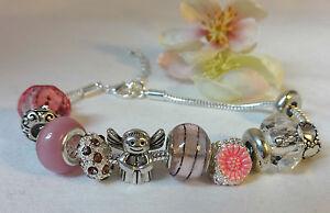 Bracelet-Angel-Pink-Silver-Beaded-Beads-Diamante-Guardian-Angel-Heart-Charm-Bracelet