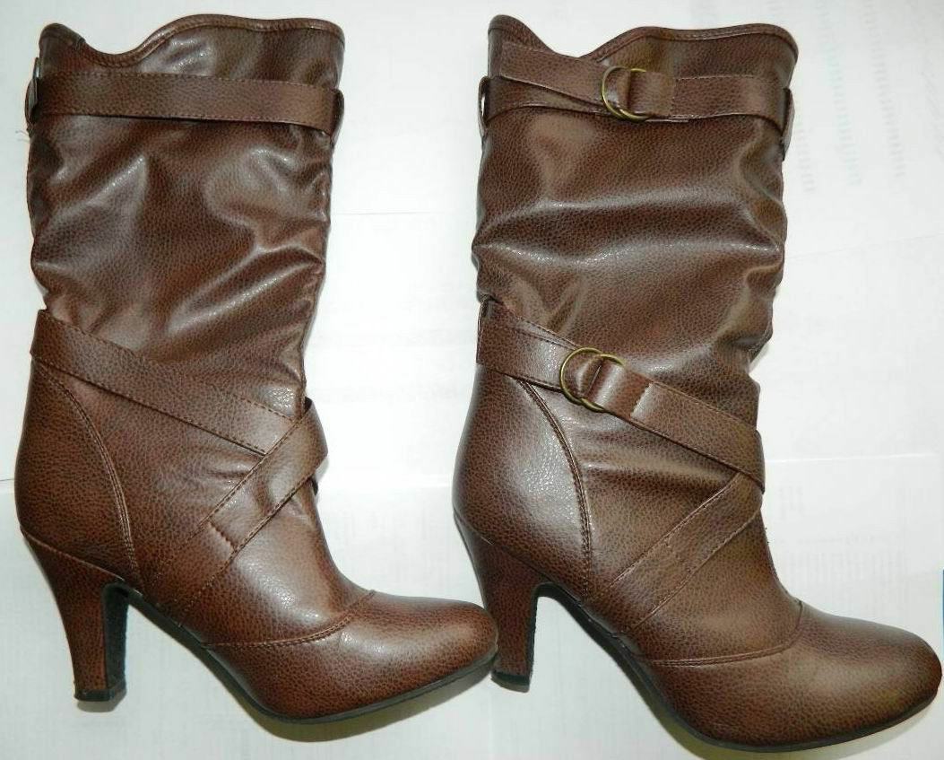 MID CALF BOOT Cowboy Boots BROWN FAUX LEATHER SIZE 8