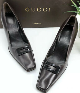 Gucci-Authentic-Vintage-90s-Big-G-Logo-Leather-Pumps-Brown-37-US-7-W-Box