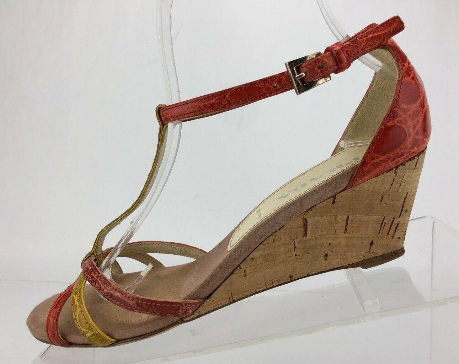 Prada T Strap Croc Skin Wedge Sandals Closed Back  Womens 36.5 6 6.5 US