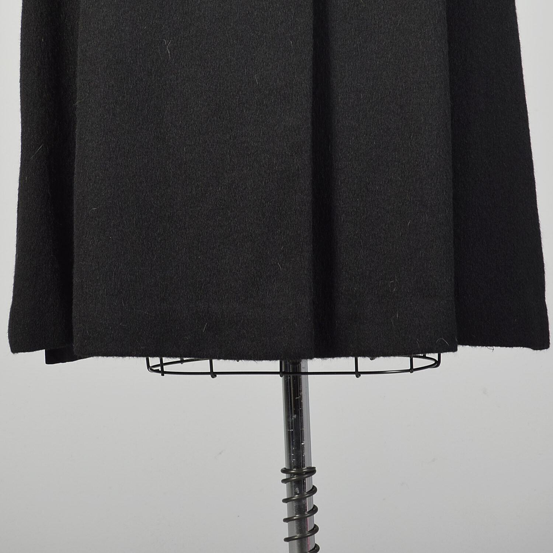 Large 1950s Princess Coat Black Wool Batwing Dolm… - image 6