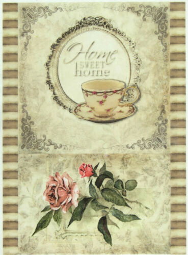 Scrapbooking Sheet Home Sweet Home Rose Rice Paper for Decoupage