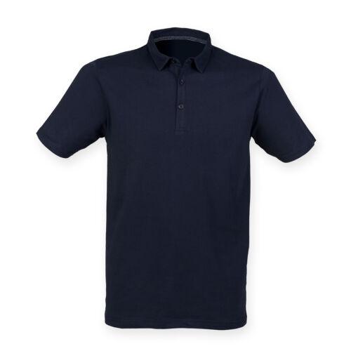 SF Uomo Moda Polo in Jersey Da Uomo Slimfit Classic Casual Tinta Unita Colletto T-shirt