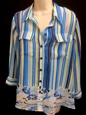Two Piece Womens Top By Investments. Tank And Blouse. Blue Yellow Striped Medium