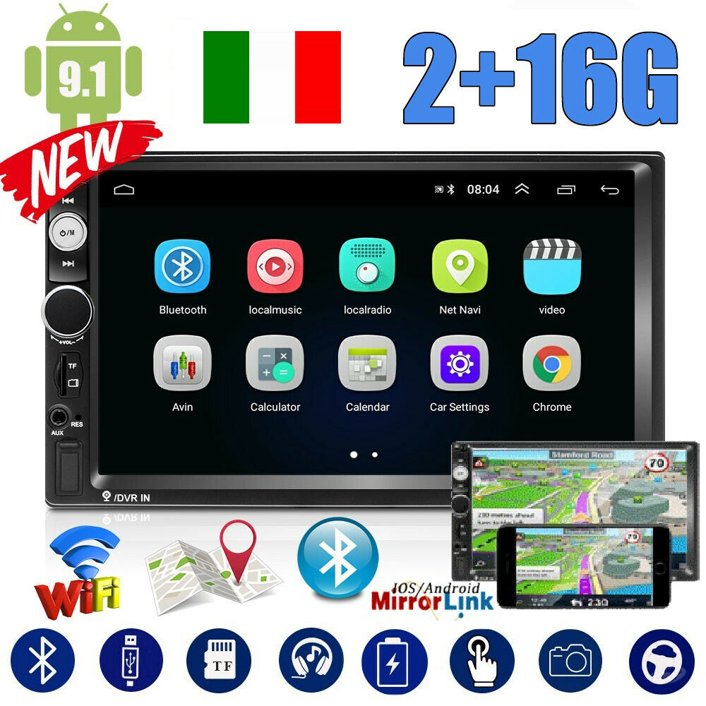 autoradio: 2+16G Autoradio 7″ 2DIN ANDROID9.1 MP5 GPS Stereo Touch Screen WIFI FM Bluetooth