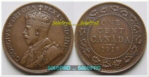 CANADA-1919-CANADIAN-COPPER-PENNY-VINTAGE-KING-GEORGE-V-LARGE-CENT-COIN