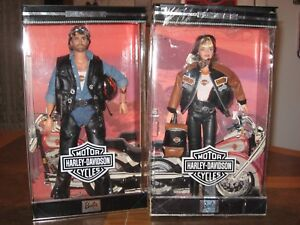 1999-HARLEY-DAVIDSON-MOTORCYCLE-BARBIE-AND-KEN-DOLL-SILVER-EDITION