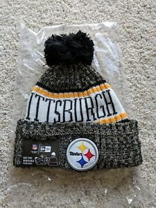 7f9b4b5a4eb New Era Pittsburgh Steelers Knit 2018 Pom Beanie Adult Sideline Hat ...