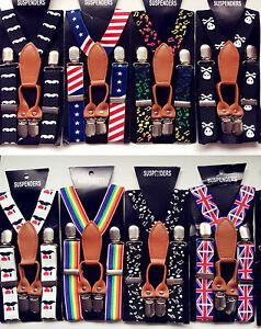 Boys-Kids-Children-Party-Costume-Wedding-Elastic-4-Clip-on-Suspender-Brace-Belt