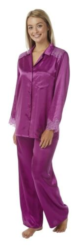 Ladies Plain Satin Silky Soft PJs Pyjamas Full Length Long Sleeve Size 10-32