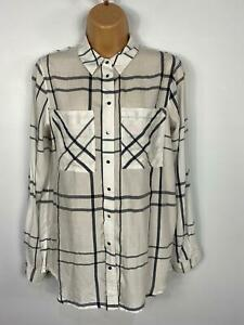 WOMENS-RIVER-ISLAND-WHITE-BLACK-CHECKED-SHIRT-BLOUSE-SMART-CASUAL-TOP-SIZE-UK-8
