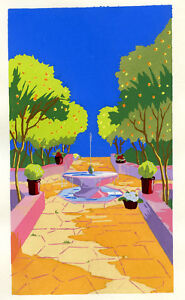 1930s French Pochoir Print Art Deco Colorful Garden Artesian Well Decor (S)