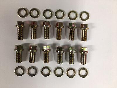 12 Pt Header Collector Bolt Kit Gold Zinc Kit 3//8-16 x 1 Grade 5#9846