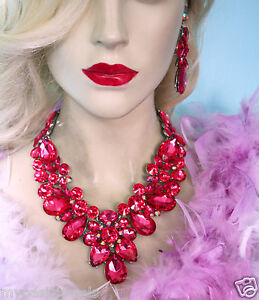 Hot-Pink-Drag-Queen-V-Shape-Rhinestone-Crystal-Choker-Necklace-Earring-Pageant