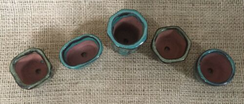 Set Of 5 Glazed Mame Size Bonsai Pots 4-5cms
