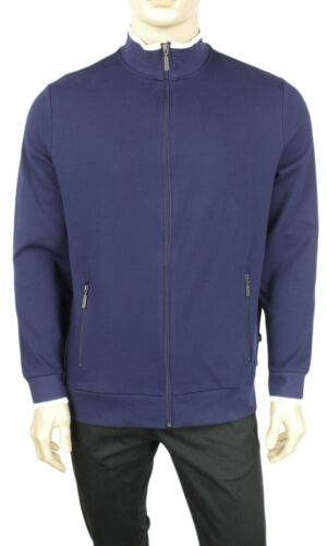 NEW MENS CLUB ROOM PERFORMANCE FULL ZIP COTTON NAVY SWEATER TRACK JACKET $75