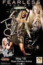 "TAYLOR SWIFT/KELLIE PICKLER/GLORIANA ""FEARLESS TOUR 2009""PORTLAND CONCERT POSTER"