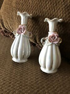 """""""2"""" Miniature Porcelain Bud Vase Hand Painted W/ Rose Gold Trim From Japan"""