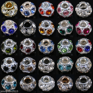 5-20-50-X-Gems-Rhinestone-Crystal-Rondelle-Loose-Spacer-Beads-7mm-10mm-12mm-14mm