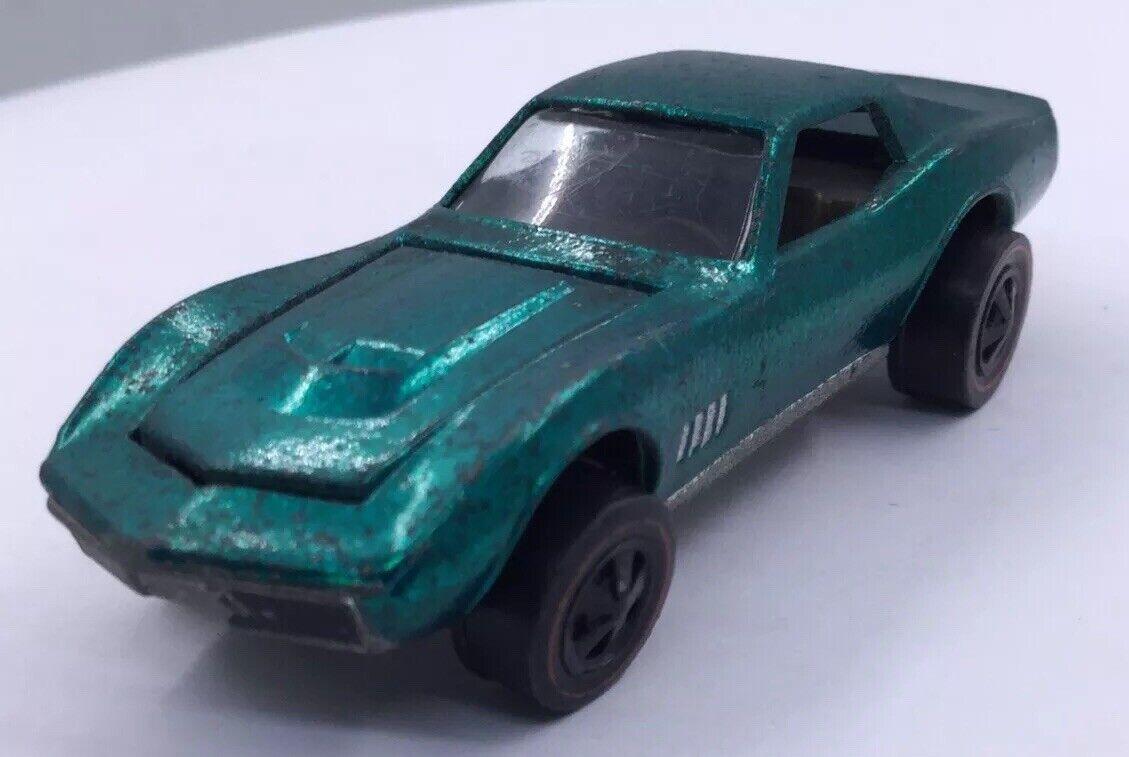 Vintage hotwheels-cusom Corvette-Aqua-Near Comme neuf (T27)