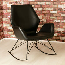Bryce Designer Leather Rocking Chair / Black Modern Accent Chair / Seat / NEW