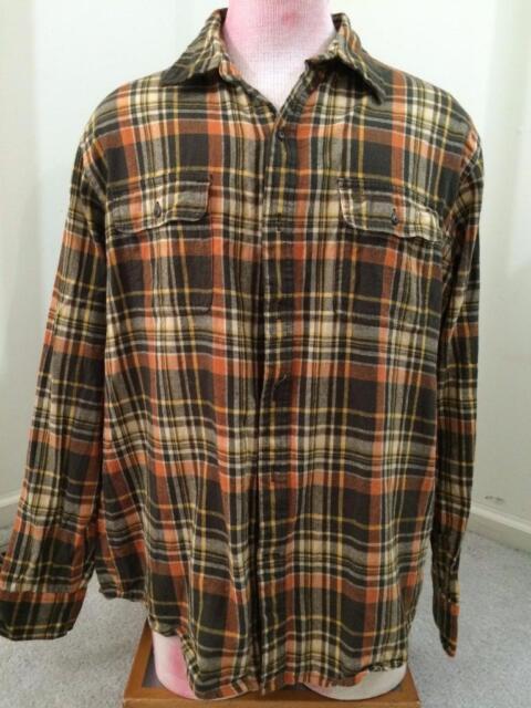 Timberland mens shirt size L large orange brown plaid button front short cotton