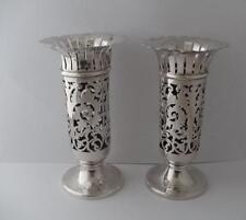Pair Of Solid Silver Vases Birmingham 1903