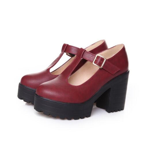 Femmes Talons Hauts Mary Jane Escarpins T-Bride à Boucle Décontracté Chaussures Compensées 4.5-12 US