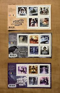 2014-2015-2016-Haunted-Canada-1-2-3-New-Ghosts-Horror-Souvenir-Sheets-Halloween