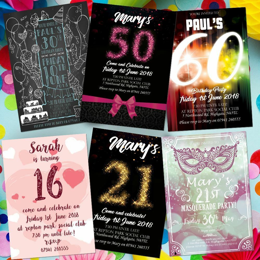 Personalised 21st Birthday Invitations Party Invites Boy Girl 18th