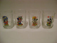 LOT OF 4 - DISNEY MICKEY MOUSE MCDONALD'S GLASSES from 2000, FULL COMPLETE SET