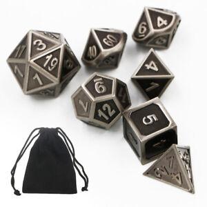 7pcs-Heavy-Metal-Polyhedral-Gepraegt-Wuerfel-fuer-TRPG-Brettspiel-DnD-MTG-SET