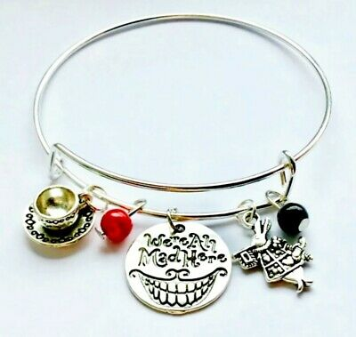 WERE ALL MAD HERE Alice In Wonderland Rabbit Charm Bangle Bracelet GIFT Pouch UK