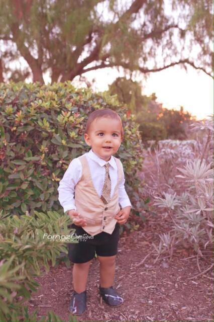 Baby Boy Dressy White Dress Shirt Bodysuit with Khaki Vest and Ties - 3-12mths