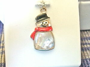 bf88b1fcac1ba SNOWMAN CHARM-PENDANT STERLING SILVER MOTHER OF PEARL BODY; RED ...