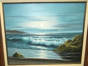 T-CORDALY-ORIGINAL-OIL-ON-CANVAS-SEASCAPE-BIRDS-PAINTING