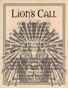 LION-PRAYER-Shaman-Animal-Spirit-Poster-8-1-2-X-11-Page-Art-Celtic-Wicca