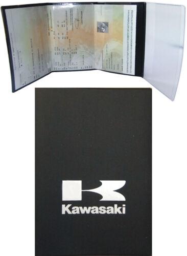 Pochette Etui PORTE CARTE GRISE *KAWASAKI* 4 volets en GOMME noire SOUPLE