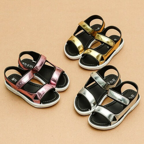 New Girls Kids Sandal Princess Summer Flat Beach Shoes Size7.5-1.5 E408-2