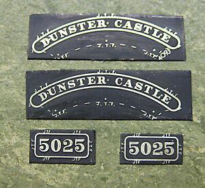 GWR-BR-W-039-Dunster-Castle-039-5025-etched-brass-nameplate-set-Jim-Fraser-00-EM-S4