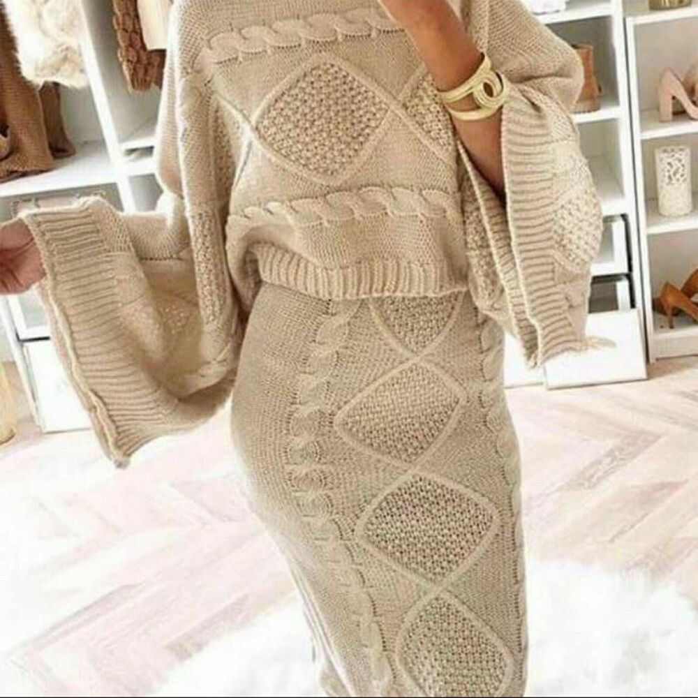 Femme Mesdames Chunky Cable Knitted Co-ord évasée Deux Pièces Haut Jupe Robe Costume