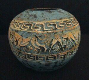 Handmade-Terracotta-Art-Pottery-Vase-Bowl-Incised-Figures-Blue