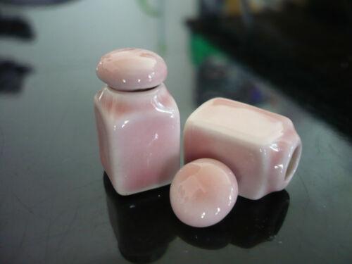 2 Rosa Quadrado canister//cookie Pote Com Tampa Removível Miniaturas Casa De Bonecas