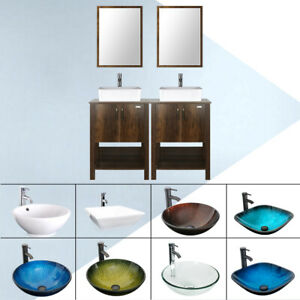 48 Bathroom Vanity Cabinet W Mirror Vessel Sink Set Faucet Drain Combo Brown Ebay