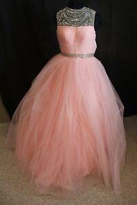 NWT Sherri Hill 32136 Blush rhinestone Ball Gown, Size 8