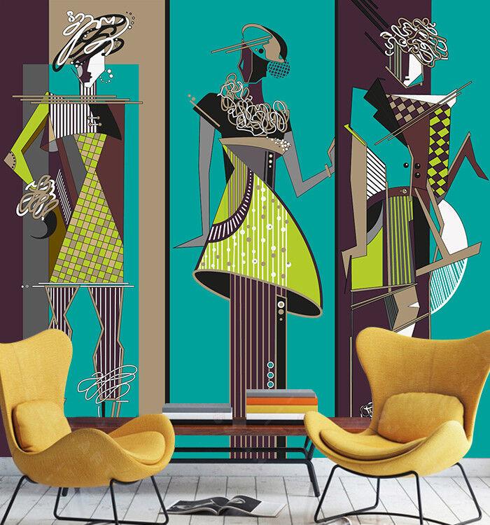 3D Gemaltes Mädchen 9533 Tapete Wandgemälde Tapeten Bild Familie DE Lemon
