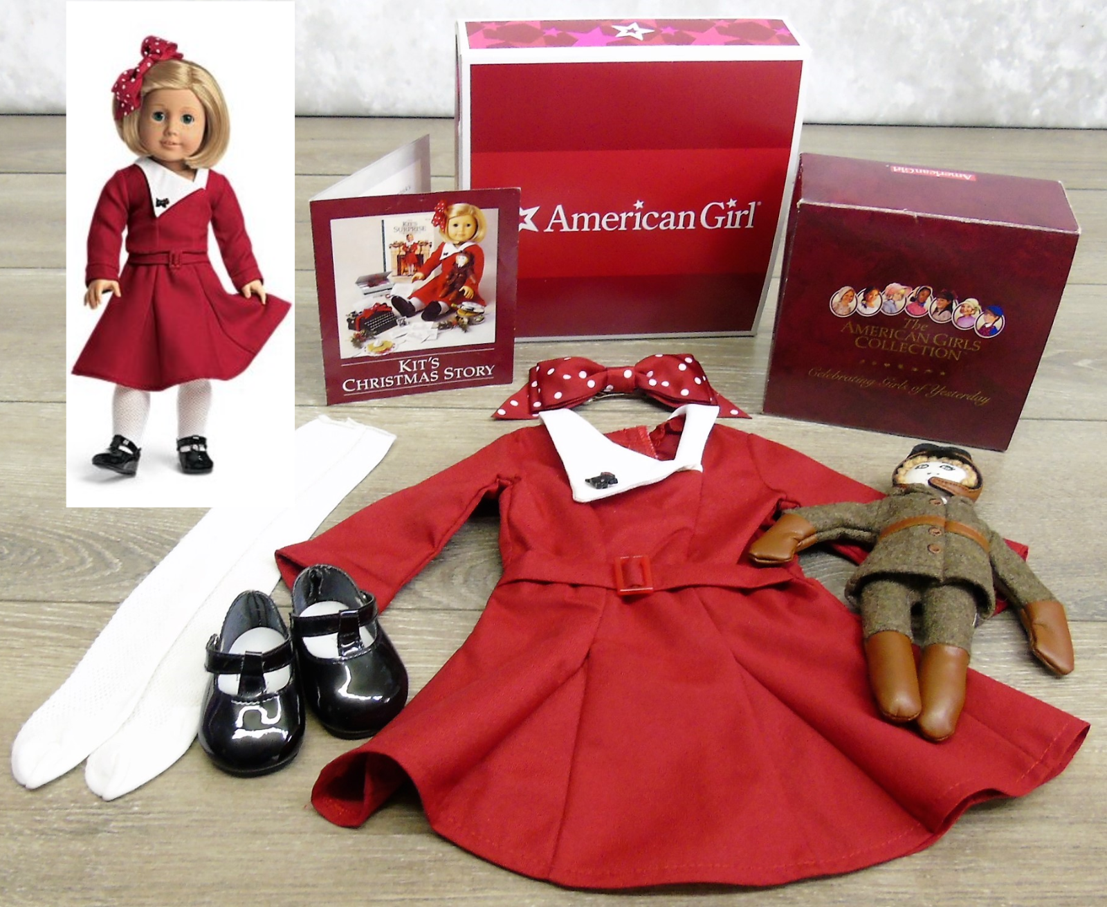 Neu American Girl Set Weihnachten Urlaub Outfit & Aviator Doll Brosche Leggings