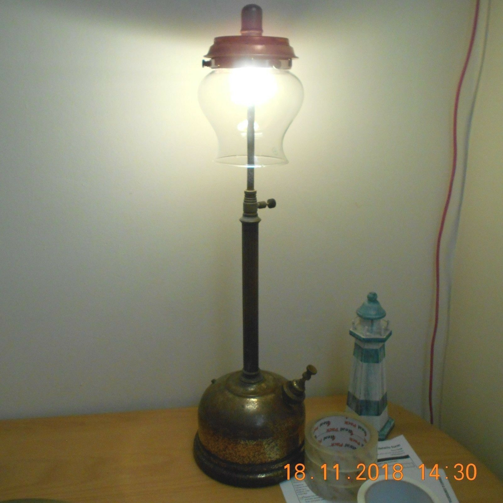 >Early Oil Vintage Tilley Table Lamp Paraffin Kerosene Oil >Early Tilly Antique lantern fd6210