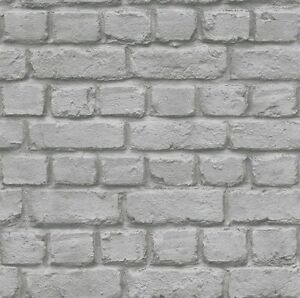 Rasch 226720 3d Pierre Mur De Briques Effet Papier Peint Gris Ebay
